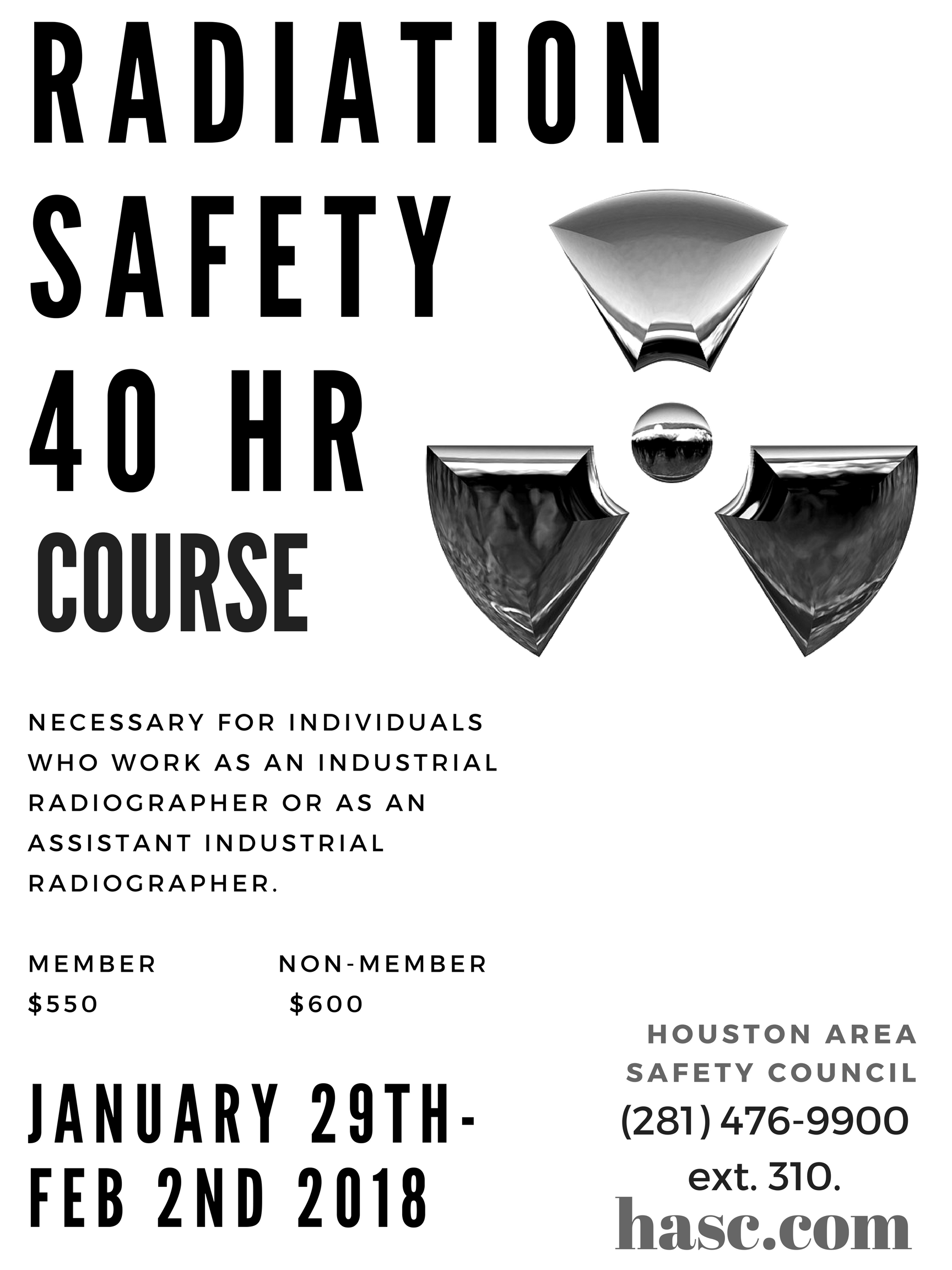 40 Hour Radiation Safety Course @ Houston Area Safety Council | Plainfield | Indiana | United States